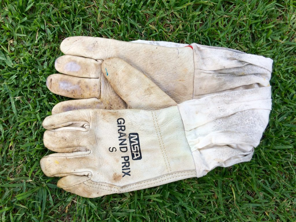 leather beekeeper's gloves